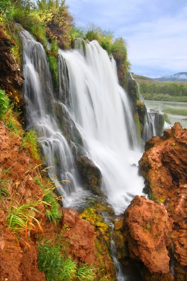 Fall Creek Falls flows into the Snake River in the Caribou National Forest of Idaho.