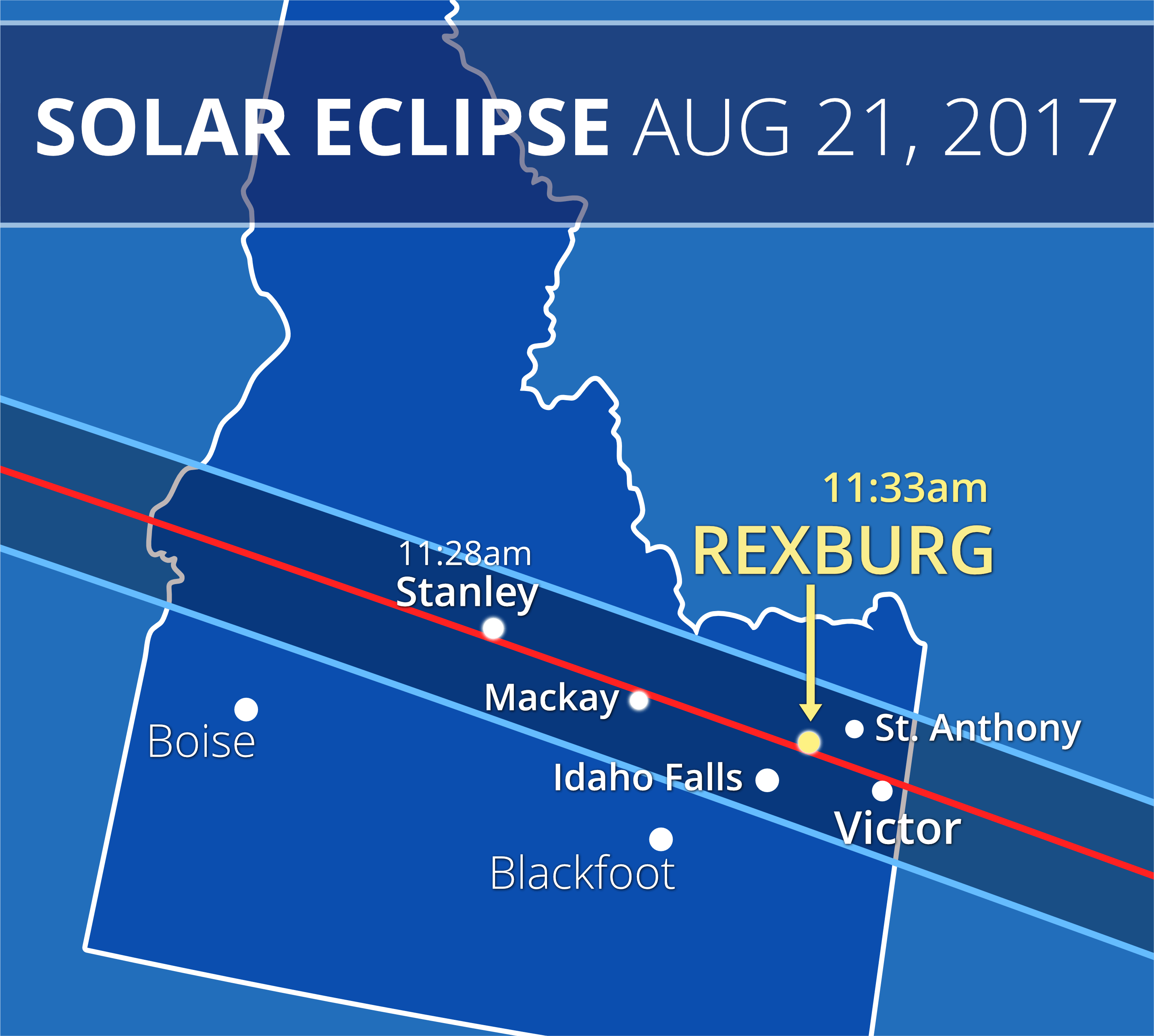Everything you need to know about the rexburg solar eclipse any city within the shaed area will see the total solar eclipse but cities closer to to the center line will see it longer areas outside the band will see pooptronica