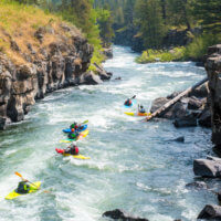 Kayaks at Sheep Falls